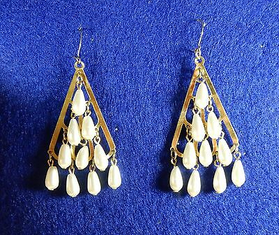 Lovely Vintage Gold Tone and Faux Pearl Chandelier Earrings Pierced