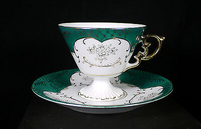 Antique Vintage Lefton China Hand Painted Teacup & Saucer Green & Gold