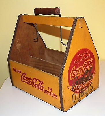 Vintage 1940's Coca-Cola wooden 6 bottle carrier carton with wings - Dubois PA