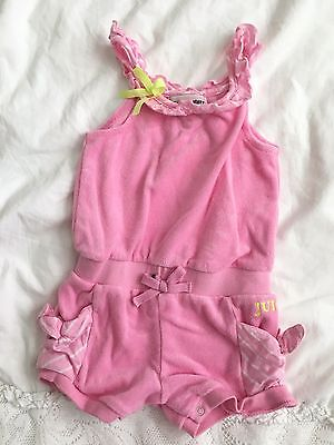AUTH Juicy Couture Pink Baby Girls Romper 6-12 Months Terry Cloth Shorts Outfit