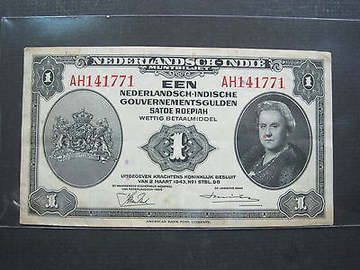 Netherlands East Indies 1 Roepiah 1943 #u Indonesia Dutch Banknote Paper Money