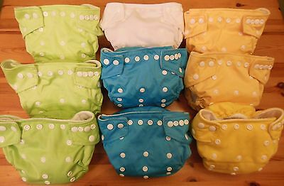 9 x Little Lamb One Size Pocket Reusable / Washable Nappies -Starter Pack- Used