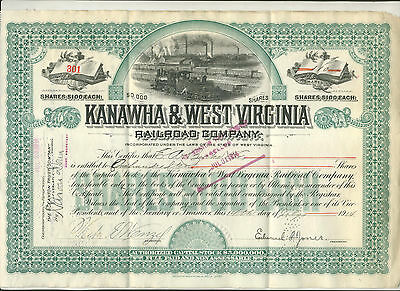 1914 Kanawha & West Virginia Railroad Company Stock Certificate