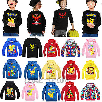 Kids Boys Girls Pokemon Pikachu Hoodies Hooded Sweater Pullover T Shirt Tops Tee