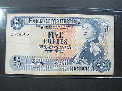 MAURITIUS 5 RUPEES 1967 P30c #P SHARP BRITISH QEII WORLD BANKNOTE PAPER MONEY