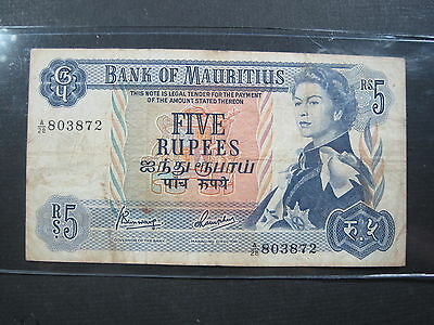 MAURITIUS 5 RUPEES 1967 P30c #D SHARP BRITISH QEII WORLD BANKNOTE PAPER MONEY