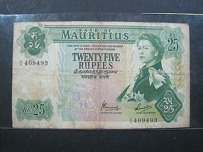 MAURITIUS 25 RUPEES 1967 P32b #U SHARP BRITISH QEII WORLD BANKNOTE PAPER MONEY