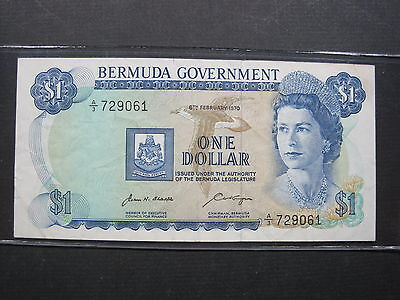 Bermuda 1 Dollar 1970 P23 #g British Island Qeii World Banknote Paper Money