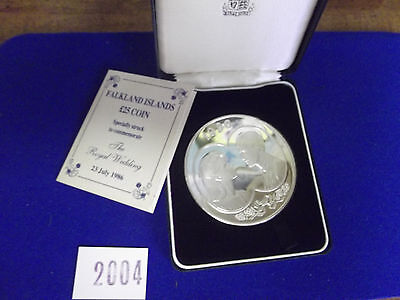 1986 Falkland Islands 25 Pound SILVER Coin Commemorative Royal Wedding PROOF