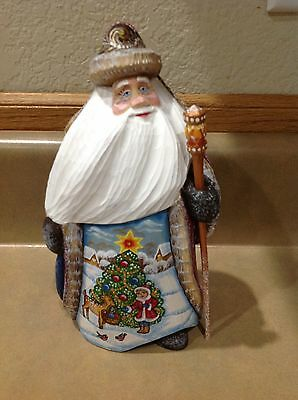 Russian Santa  with Girl Hand Carved Very Beautiful Piece