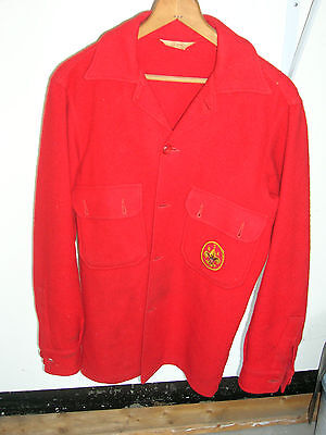 Vintage Boy Scout Official Uniform Red Wool Coat / Shirt with Emblem Size 38