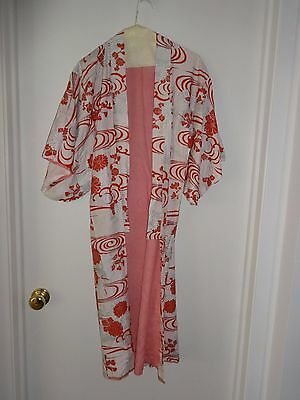Vintage Japanese Red & White with Silver Kimono Robe - Pink Lining