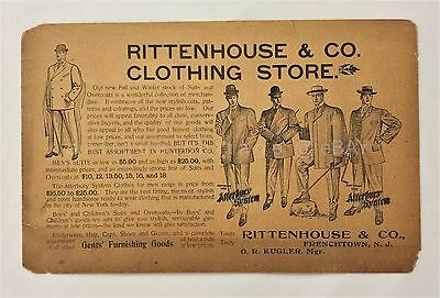 1905 antique RITTENHOUSE &CO CLOTHING STORE frenchtown nj AD lrg pc MENS FASHION