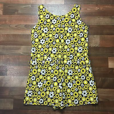 Vintage 60s 70s Yellow Brown Daisy Floral Romper Mod GoGo Playsuit Summer Large