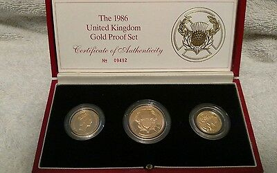 1986 Great Britain UK Proof Gold Sovereign 3 Coin Set COA by Royal Mint