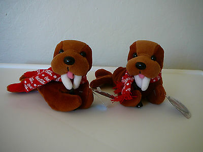 Two 1997 Collectible Walrus With Coca Cola Bottle & Scarf #0124 Bean Bag Plush
