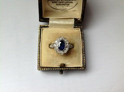 Antique 18Ct/Platinum  Australian Sapphire And Diamond Ring