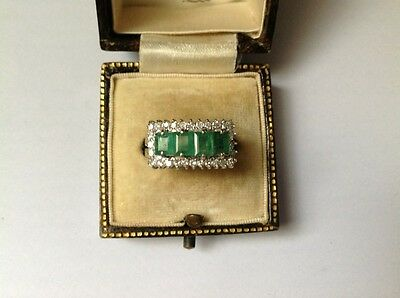 Vintage 18Ct White Gold Diamond/ Emerald Ring