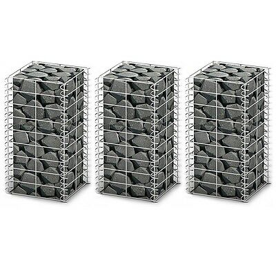 3x Gabion Retaining Wall 25x50cm Mesh Wire Galvanized Steel Stone Basket Blocks