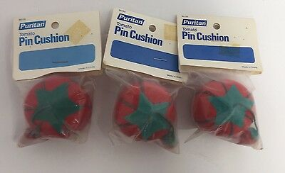 3 FABRIC VINTAGE TOMATO PINCUSHION original packaging 1987 Dritz Strawberry LOT