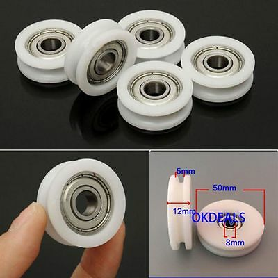 8*50*12mm Groove Ball Bearing Pulley Nylon Guide Rail Plastic Rope Wheel