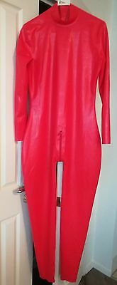 Mens Red Back Zip Latex Rubber Catsuit - New - Size L-Xl