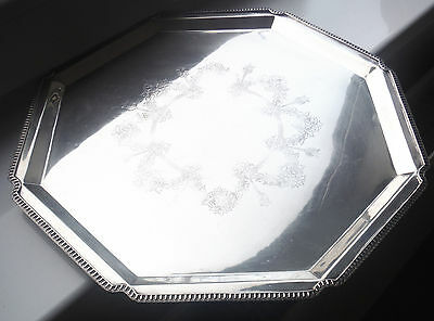 Large Antique Engraved Silver Plated Footed Octagonal Tray
