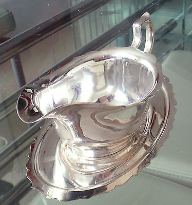 Mid Century Silver Plated Sauce Boat & Undertray