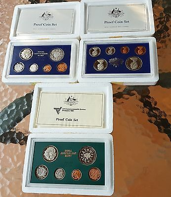 2 x 1981 -- 1 x 1982 Royal Australia Mint Six Coin Proof Set foams  certificate