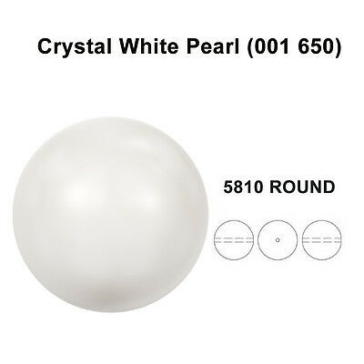 CRYSTAL WHITE PEARL (001 650) Genuine Swarovski 5810 Round *All Sizes