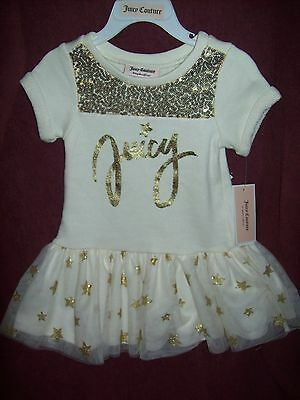 Toddler Girls JUICY COUTURE DRESS SZ 4T - NEW NWT MSRP $60 -IVORY & GOLD SEQUINS