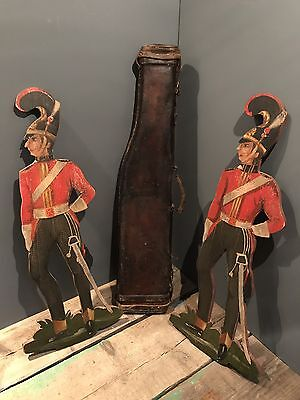 Antique Fairground Sign Panel Wooden Military Hand Painted Soldier Vintage PAIR