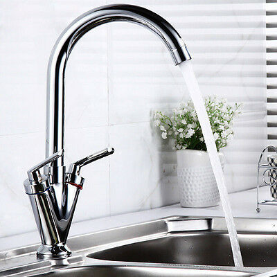 UK Swivel Spout Mono Kitchen Sink Brass Mixer Tap Twin Lever Chrome Water Faucet