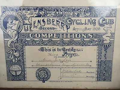 1903 QUEENSBURY CYCLING CLUB SECOND ANNUAL COMPETITIONS Framed Certificate-Melb.