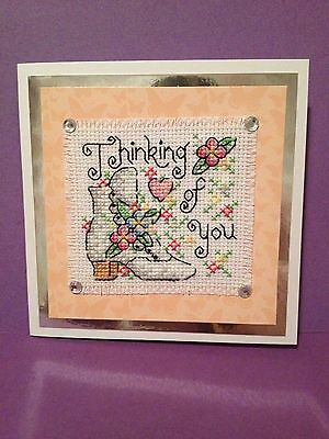 Completed Cross Stitch Card           ( Thinking Of You )