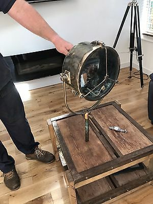 Vintage Industrial Brass Ship Search Lamp Nautical Boat