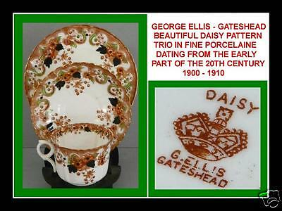 Beautiful Vintage George Ellis Gateshead Porcelain Trio Daisy Pattern C.1900-10