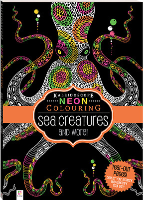 Adult Colouring Book Kaleidoscope Neon Sea Creatures And More 32 Pages A4 Size