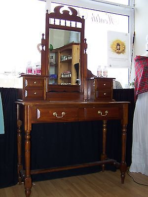 Antique Victorian Mirrored Dressing Table With Drawers