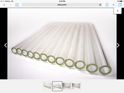Lot x 10 Glass tube 150mm long x 1mm OD Schotts blow bend Pyrex Broscillate