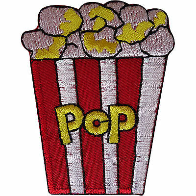 Popcorn Patch Embroidered Badge Iron Sew On Movie Film Food Embroidery Applique