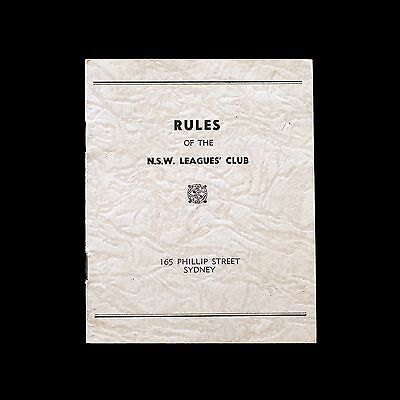 Vintage RULES of the NSW Leagues Club - Sydney - booklet
