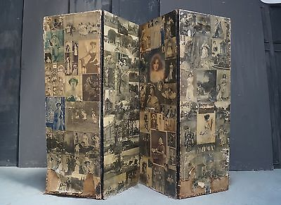 Victorian Decoupage Dressing Screen Room Divider Antique - We Can Deliver
