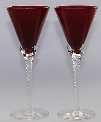 Elegant Pair of Red Wine Glasses - Clear Twist Stem, Conical - 18.8cm / 100ml