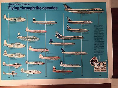 Air New Zealand 'Flying Through The Decades' Original Linen Backed Poster