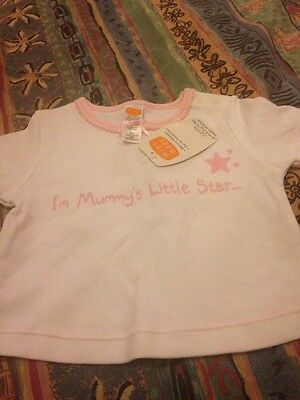 New With Tag Girls White & Pink T-shirt Age 0-3 Months By Mini Mode
