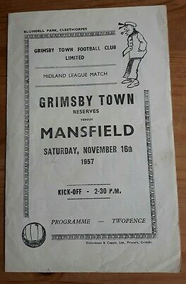 Grimsby Town Reserves v Mansfield 1957/58