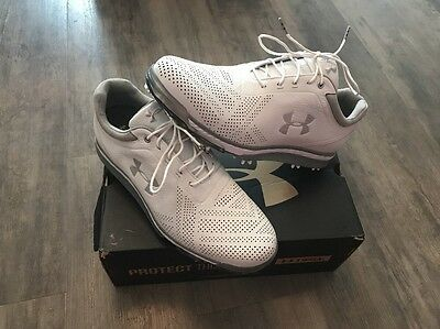 2016 Under Armour Mens Tempo Tour Waterproof Golf Shoes 10UK White / Grey New