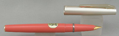 Pilot 3A Coral w/ Satin Silver Cap Fountain Pen - Mint New-Old-Stock - 1970's