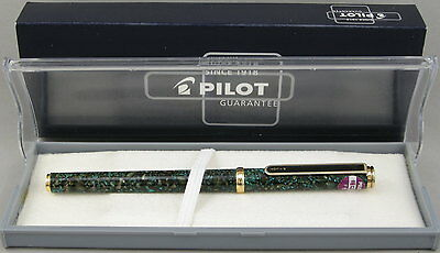 Pilot Adige Green Splatter & Gold Fountain Pen - Mint New-Old-Stock - 1980's